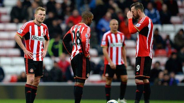 Dismayed Sunderland players