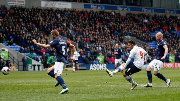 Adam Le Fondre nets Bolton's first goal against Millwall