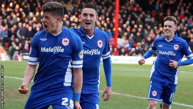 Alex Revell celebrates after scoring Cardiff's winner at Brentford
