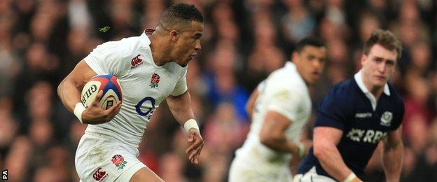 Anthony Watson on the charge for England