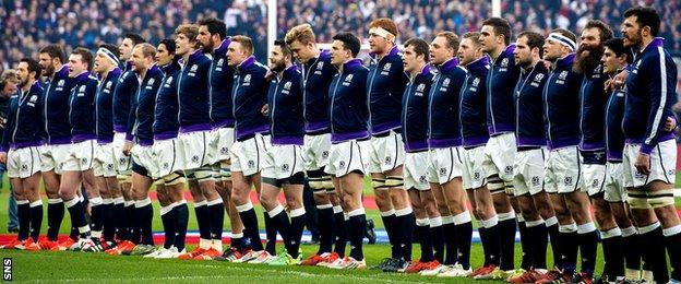 The Scotland team line up at Twickenham