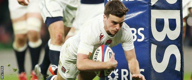 George Ford scores England's second try against Scotland