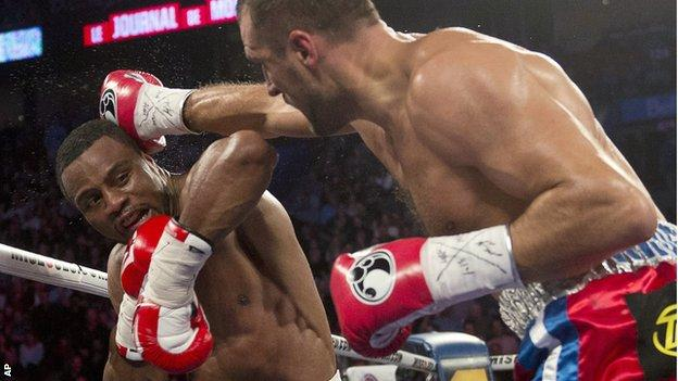 Sergey Kovalev lands a right against Jean Pascal of Canada
