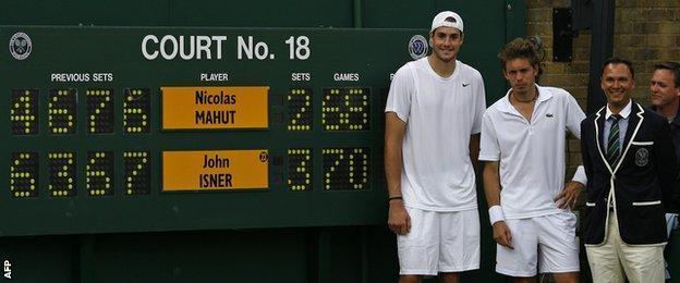 John Isner against Nicolas Mahut in 2010