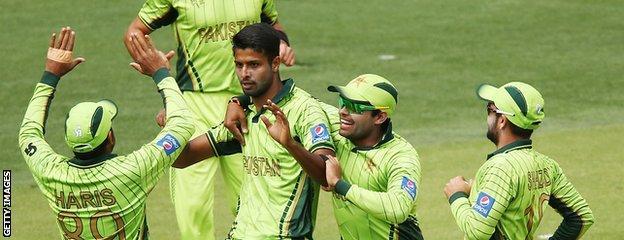 Ehsan Adil celebrates a wicket