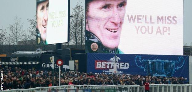 A good luck message to AP McCoy at Cheltenham racecourse