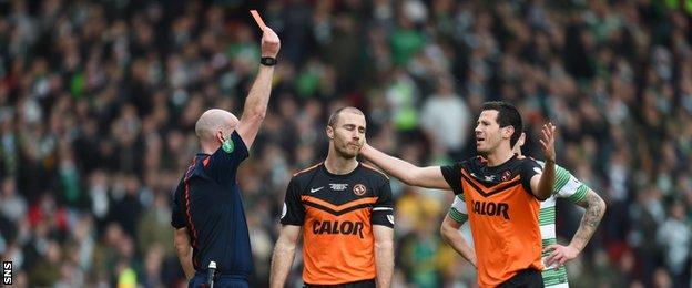 Referee Bobby Madden sends off Dundee United captain Sean Dillon