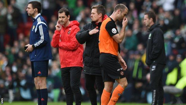 Dundee United captain Sean Dillon was sent off in the second half.