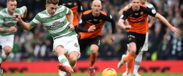 James Forrest takes a penalty
