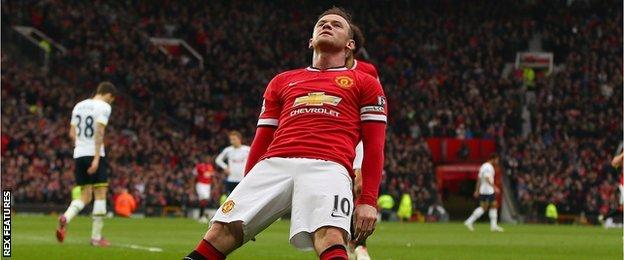 Rooney falls to the ground as if 'knocked out' after scoring