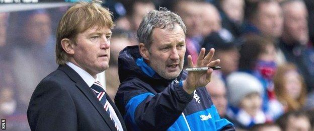 Rangers manager Stuart McCall and assistant Kenny Black