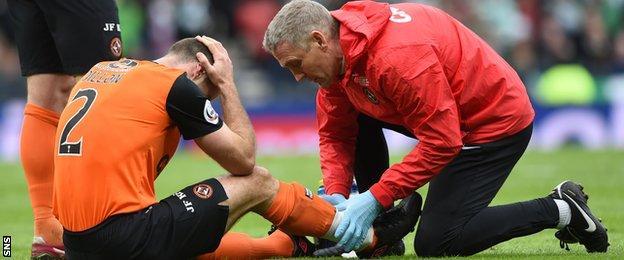 Sean Dillon receives treatment after a challenge by Virgil van Dijk
