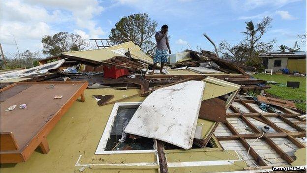 Flattened house in Port Vila, Vanuatu (16 March 2015)