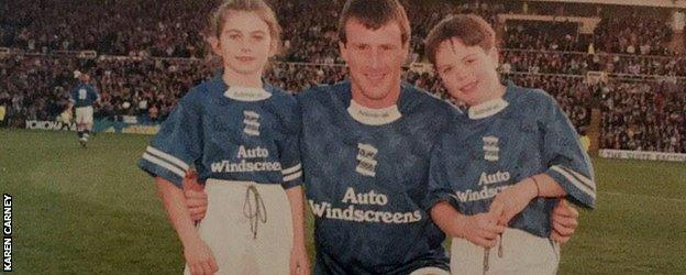 Karen Carney (l) as a youngster with forming Birmingham City player Steve Claridge