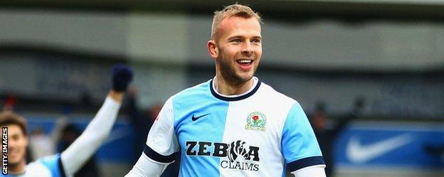 Jordan Rhodes celebrates a goal for Blackburn