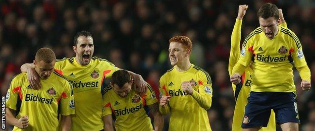 Sunderland celebrate victory over Manchester United in the Capital One Cup semi-final