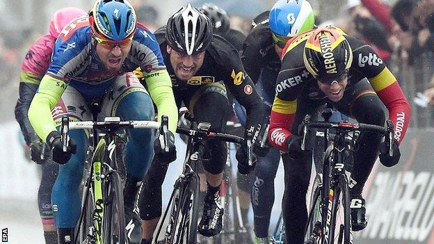 Slovakia's Peter Sagan of Tinkoff-Saxo on his way to winning the sixth stage of the Tirreno-Adriatico