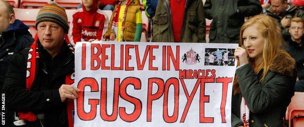 Sunderland fans show support for Gus Poyet at Swansea last season