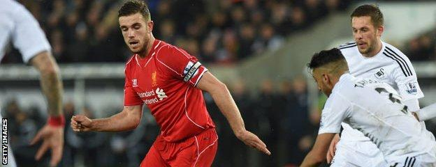 Liverpool's Jordan Henderson has scored a goal in his last three Premier League matches