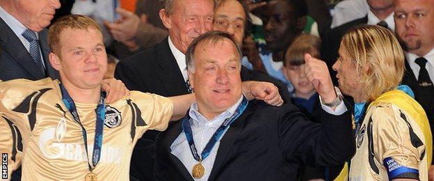 Dick Advocaat celebrates winning the 2008 Uefa Cup final