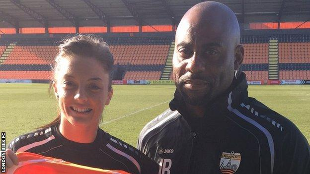 Louise Fellows, with Bees head coach Julian Broomes