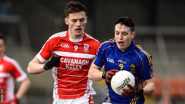 Dungannon's Brian Kennedy and Cavan's Brendan Argue in the recent Hogan Cup final