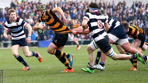 Action from the Schools' Cup final at Ravenhill