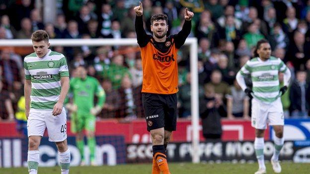 Dundee United forward Jackie McNamara in action against Celtic