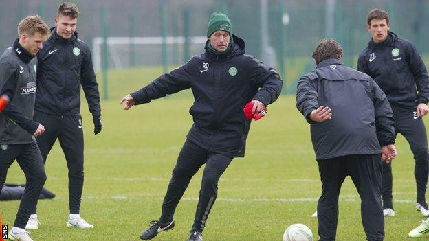 Celtic manager Ronny Deila takes part in a training session