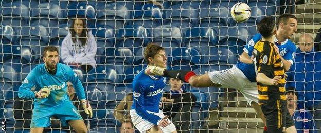 Ben Gordon scores for Alloa Athletic against Rangers