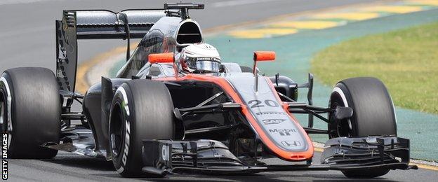 Kevin Magnussen driving for McLaren-Honda in qualifying