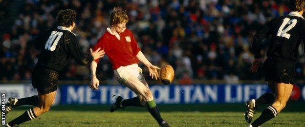 Ex-Ireland stand-off Ollie Campbell kicks against New Zealand for the 1983 British and Irish Lions