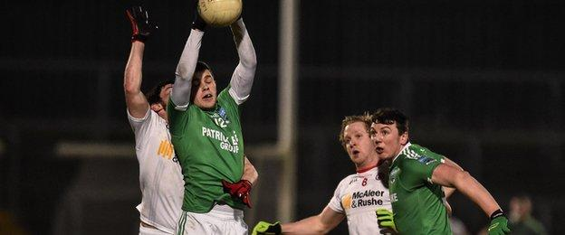Fermanagh's Sean McManus wins the high ball but Tyrone were the victors in Omagh