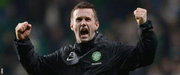 Ronny Deila celebrates at full-time after Celtic made the Scottish Cup semi-final.