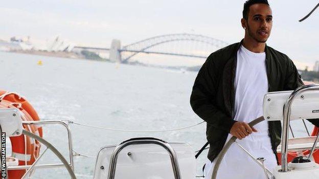 Lewis Hamilton sailing in Sydney Harbour