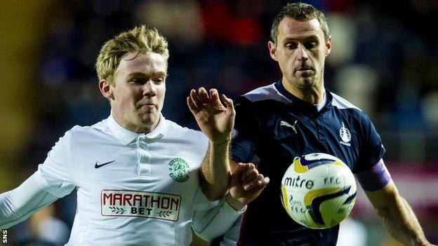 Hibernian's Lewis Allen and Falkirk's David McCracken