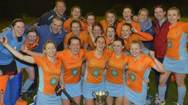 Ards players celebrate their Ulster Premier League triumph