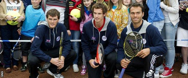 The Murray brothers with Ross Hutchins in 2011