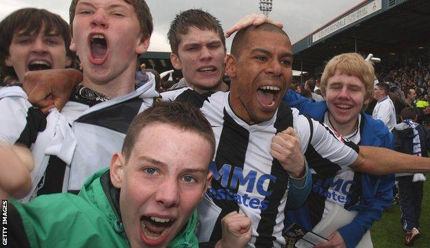 Rochdale's Nathan Stanton celebrates with fans after their 2008 play-off semi-final win over Darlington