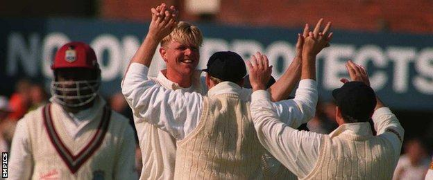 England bowler Peter Martin celebrates the wicket of West Indies skipper Richie Richardson in 1995