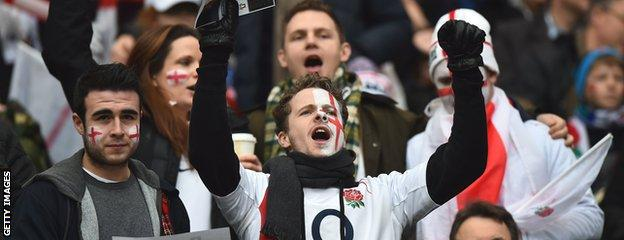 England rugby fans celebrate at Twickenham