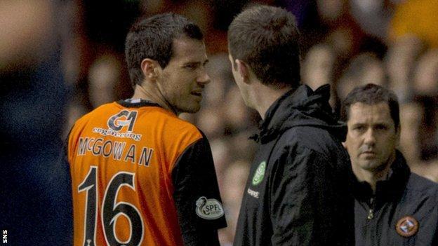 Ronny Deila felt the referee was correct to send off Ryan McGowan.