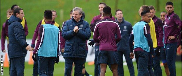 Roy Hodgson takes England training