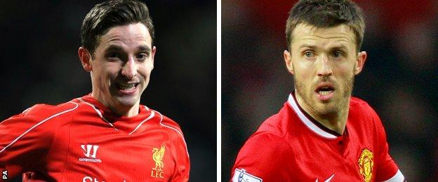 Liverpool's Joe Allen and Manchester United's Michael Carrick