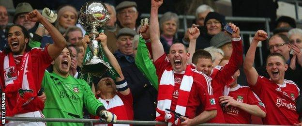 Wrexham celebrate winning the FA Trophy at Wembley