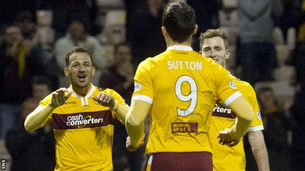 Lionel Ainsworth and John Sutton both hit doubles for Motherwell.