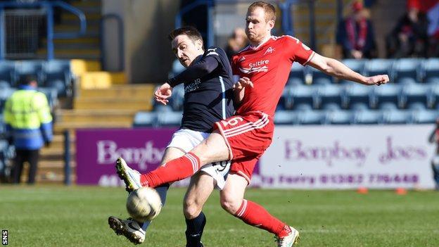 Paul Heffernan (left) is challenged by Aberdeen's Mark Reynolds.