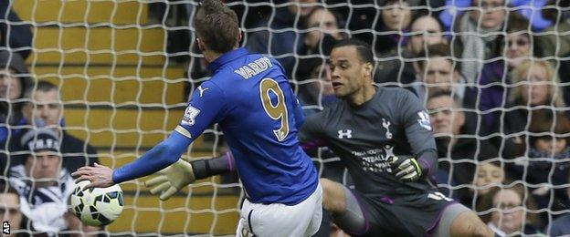Leicester City striker Jamie Vardy pulls a goal back for his side at Tottenham