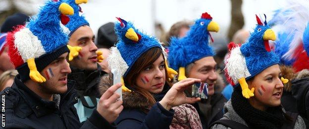 France fans at Twickenham