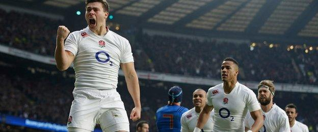 Ben Youngs celebrates scoring against France